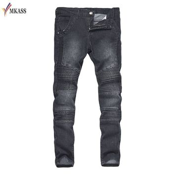 Men's Ripped Jean Denim Straight Biker Jeans Men Washed Skinny Jeans Vintage Slim Fit Brand Trousers Stretch M-2XL