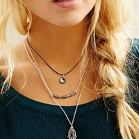 Yin Yang Hamsa Layering Necklace