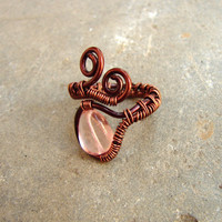 Adjustable ring rose bead copper color wirewrapped ring with pressed glass bead