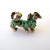 Brooch Pin - Vintage Metal Puppy with Green Eyes