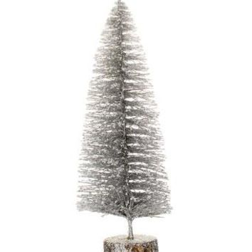 "Mini Artificial Bottle Brush Christmas Tree in Silver - 12"" Tall"