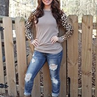 Leopard Baseball Top - Taupe