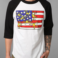 Urban Outfitters - OBEY Keith Haring Flag Raglan Tee