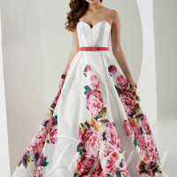 Floral Printed Tiffany Designs Prom Ball Gown 61147