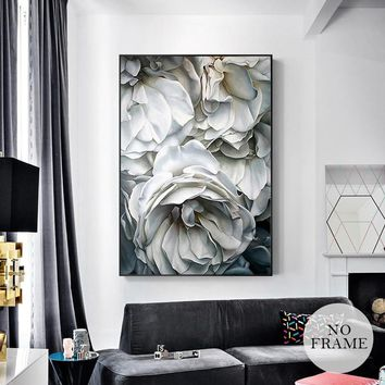 HD Modern White Rose Canvas Painting Posters And Prints Nordic Poster Wall Art Pictures For Living Room Beauty Flower Home Decor