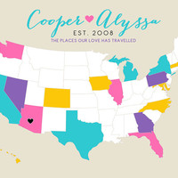 Custom US Map, Wedding Anniversary Engagement Gift - 8x10 Personalized Map, Geography, Cartography, Pretty Colors, Quote, Lyrics, Est Date