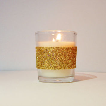 10 Gold Wedding Favors - Gold Wedding Decor - Party Favor - Gold Candles