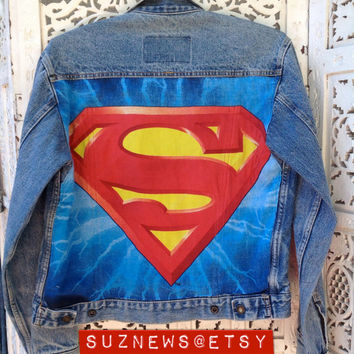 Superman Style Denim Jean Jacket with Crest and Patch Unisex Size Small Superhero Fashion  //SuzNews Etsy Store//