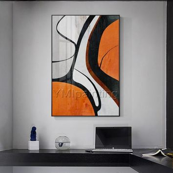 Original painting Nordic orange and black abstract acrylic Paintings on canvas art extra large Wall Pictures hand painted cuadros abstractos