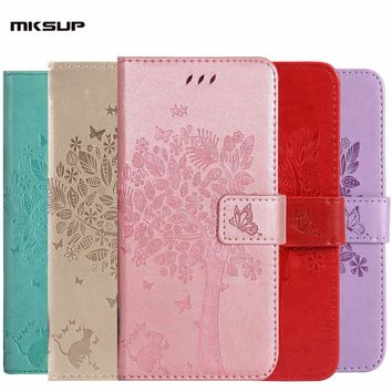 MKSUP Luxury Cute Embossing Leather Flip Cover Wallet Case for iPhone 4 4S 5 5S SE 6 6S Plus 7 Plus
