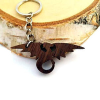 Dragon Wooden Keychain, Walnut Wood, Cool Keychain, Environmental Friendly Green materials