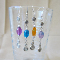 Silver Double Spiral Beaded Dangle Earrings, Handmade, Original Design, Fashion Jewelry, Easter Inspired, Celtic, Cute, Fun, Unique,