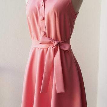 DOWNTOWN Blush Pink Dress Pink Casual Dress Shirt Dress Fit and Flare Summer Dress Working Dress Day to Night Wedding Bridesmaid Dress