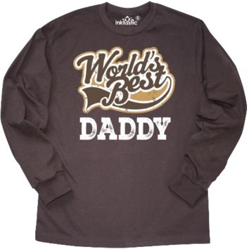 Daddy gift for men with distressed brown and white logo on a Fathers Day Long Sleeve T-Shirt for Dad. $24.99 www.personalizedfamilytshirts.com