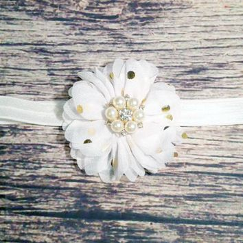 White and Gold Polka Dot Headband
