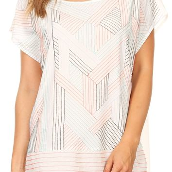 Sakkas Nala Multi-Color Geometric Embroidered Short Sleeve Dolman Top