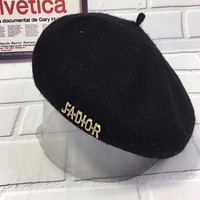"""Dior"" Women Casual Hat Fashion Classic Letter Logo Woolen Beret Cap Painter Cap Black"