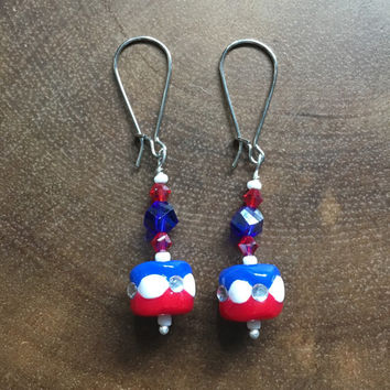 Polymer Clay Earrings, Swarovski, Red White Blue Earrings, Patriotic Earrings, Memorial Earrings, Fourth of July Earrings, Dangle Earrings
