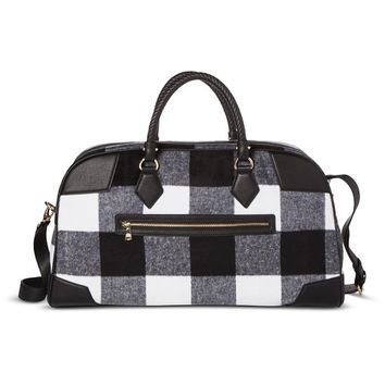 Adam Lippes for Target Weekender Patchwork Bag - Black & White Plaid