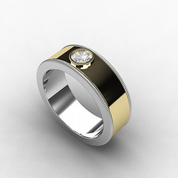 Two tone wedding band, diamond ring, mens wedding, commitment ring, rings for men, men diamond ring, bezel, gold wedding, wide ring