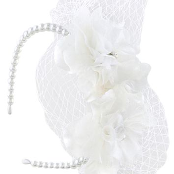 Vintage Inspired Bridal Party Flower Accent with Veil Net Pearl Headband