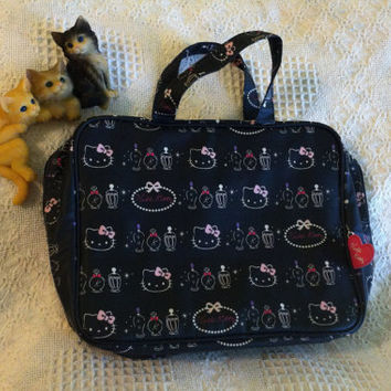 Hello Kitty Handbag Sanrio Vintage Pink White Black Vinyl Child's Purse Tote With Cute Cat Print Heart Zipper Pulls 4 Inside Zipper Pouches