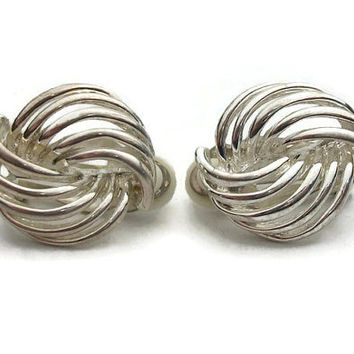 Vintage Silver Tone Knot Clip Earrings - Open Design Swirl Flourish Clip On Earrings - Comfort Clips - Simple Plain Silver Tone