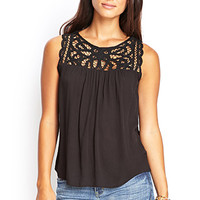 LOVE 21 Crochet Yoke Crepe Top Black