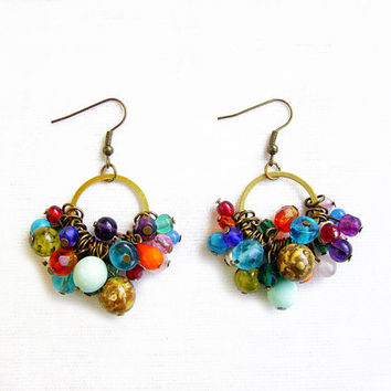 Candy Dish Earrings, Handmade Beaded Dangle earrings, Anthropologie Inspired Earrings