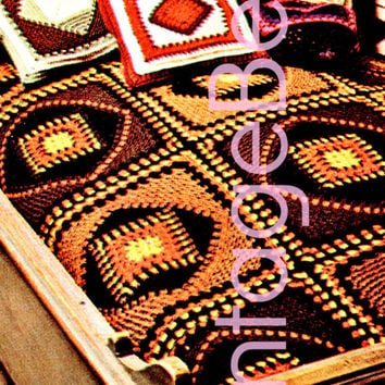 Scandinavia Rustic Afghan CROCHET Pattern • 1970s Vintage Folk Granny Square Blanket Cover Blanket Throw • DIGITAL PATTERN • PdF Pattern