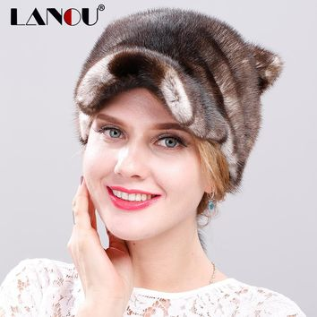Nautral Mink Fur Hat with Cat Ears Whole Piece Mink Fur Winter Hat for Women Novelty Design Real Fur beanie Hat with Long Tails
