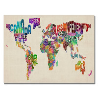 Michael Tompsett 'Typography World Map II' Canvas Art