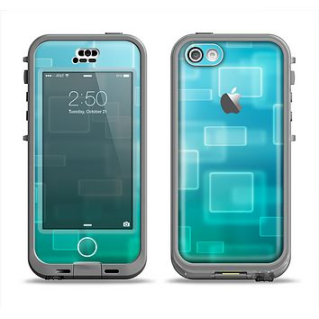 The Transparent Green & Blue 3D Squares Apple iPhone 5c LifeProof Nuud Case Skin Set