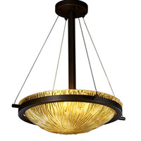 Justice Design Group GLA-9691-35-AMBR-DBRZ Veneto Luce Dark Bronze Three-Light 18-Inch Round Bowl Pendant with Amber Glass and Ring
