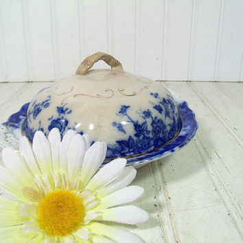 Antique Flow Blue China 3 Piece Butter Dish Set - Vintage Porcelain Covered Serving Piece - Vermont Pattern - Burgess and Leigh Maker's Mark