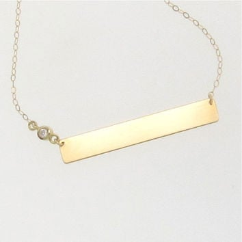 14K Gold Name Plate Necklace With Diamond, Yellow Gold 17 1/4 Inches, As Seen on Kim Kardashian