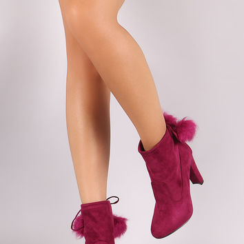 Breckelle Pom Pom Fitted Thick Heel Booties