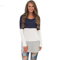 Women O-Neck Long Sleeve Contrast Color Lace Patchwork Tunic Tops