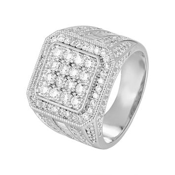 Solitaire Baguette Men's Hip Hop Designer Square Ring