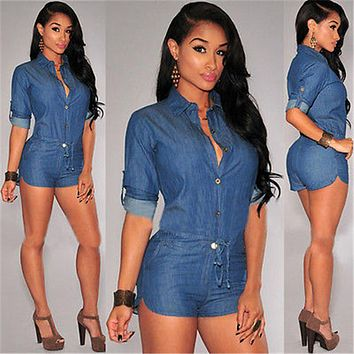 DENIM LONG SLEEVE BUTTON-UP ROMPER