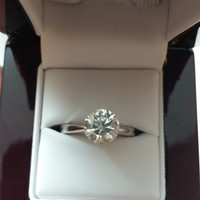 2.02 Carat F SI1 Diamond Engagement Ring 14K Tiffany Solitaire Anniversary Bridal Certified Jewelry + Fine Make!! Valentines Day Special!