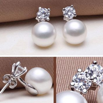 Classic Pearl earring, Pearl with 925 Sterling Silver earrings, Birthday gift Jewelry fashion earrings for Women
