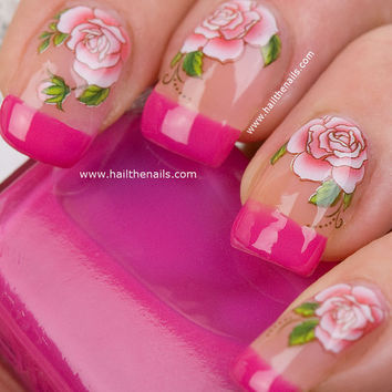 Red Rose Nail Art Water Transfer Decal YD103