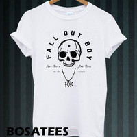 fall out boy shirt FOB logo t-shirt printed white unisex size (BS-70)
