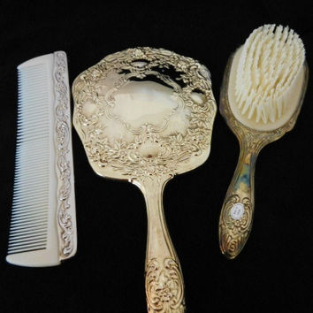 Vintage Gold Hand HeldMirror, Brush, Comb, Gold Vanity Set, Gift for Her