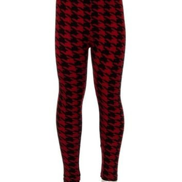 Girls Checker Leggings, Burgundy