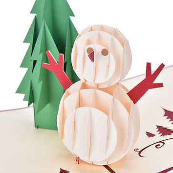 3D Pop Up Cards Christmas Tree Snowman Holiday Greeting Thanksgiving   HU