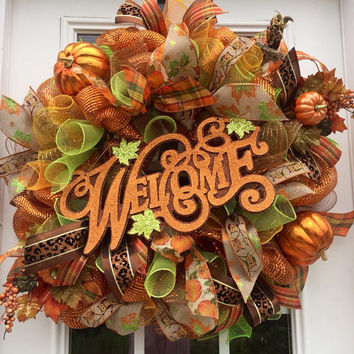 Welcome Fall Wreath, Welcome Fall Deco Mesh Wreath, front door wreath, Autumn mesh wreath, Welcome Autumn deco mesh wreath, Fall decor