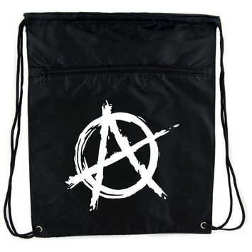 White Anarchy Cinch Bag Drawstring Backpack Punk Rock Oi Goth