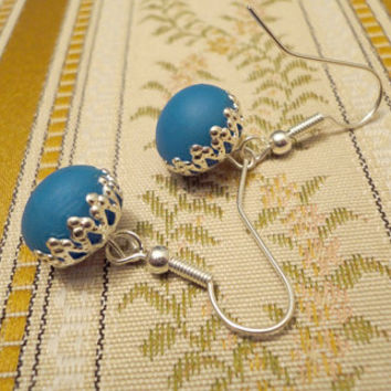 Spring blue earrings size small handmade from by NellinShoppi